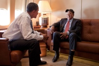 President Barack Obama talks baseball great Willie Mays aboard Air Force One en route to the MLB All-Star Game in St. Louis,  July 14, 2009.  (Official White House Photo by Pete Souza) This official White House photograph is being made available for publication by news organizations and/or for personal use printing by the subject(s) of the photograph. The photograph may not be manipulated in any way or used in materials, advertisements, products, or promotions that in any way suggest approval or endorsement of the President, the First Family, or the White House.